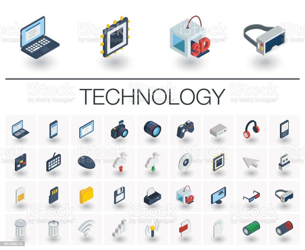 Digital technology isometric icons. 3d vector - illustrazione arte vettoriale