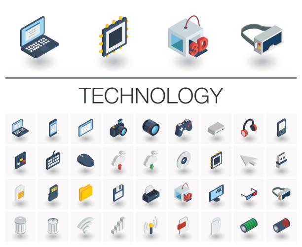 dijital teknoloji izometrik simgeler. 3b vektör - cpu stock illustrations