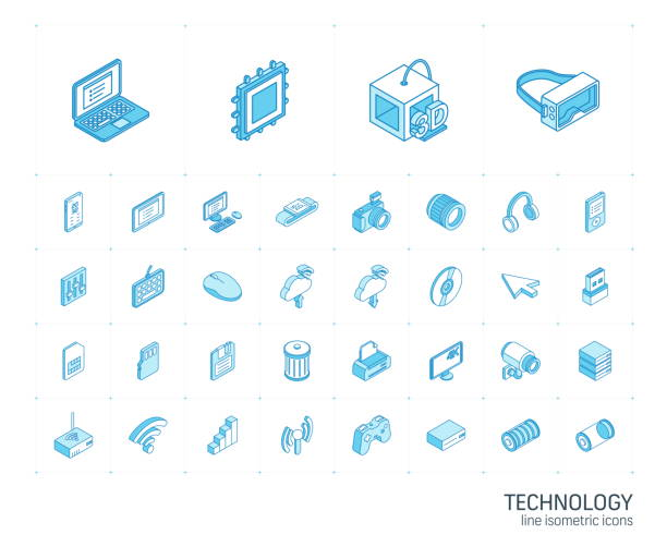 Digital technology isometric line icons. 3d vector Isometric line icon set. 3d vector colorful illustration with technology, digital symbols. Cloud computing, print, VR glasses, 4k resolution and wireless colorful pictogram Isolated on white 3d icons stock illustrations