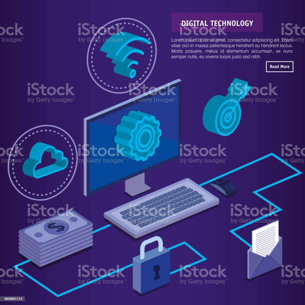 digitale technologie isometrics iconen - Royalty-free Analyseren vectorkunst