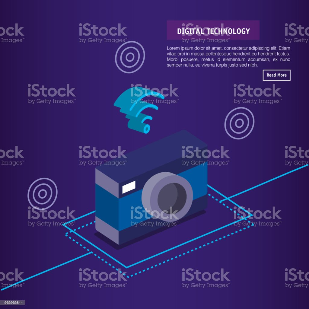 digital technology isometrics icons - Royalty-free Analyzing stock vector