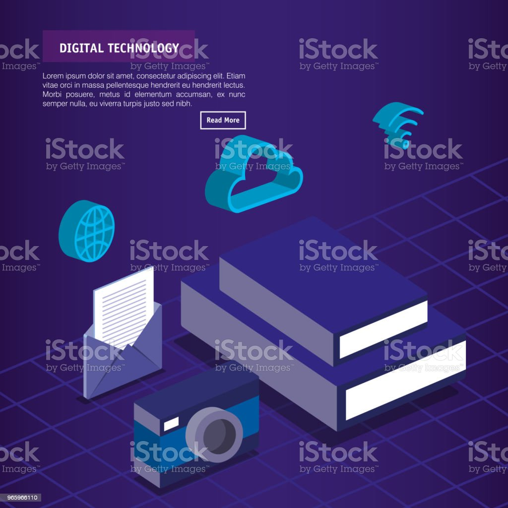 digitale technologie isometrics iconen - Royalty-free Analyseren vectorkunst