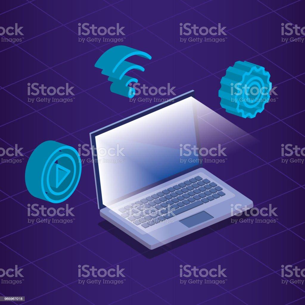 digital teknik isometrics ikoner - Royaltyfri Analysera vektorgrafik