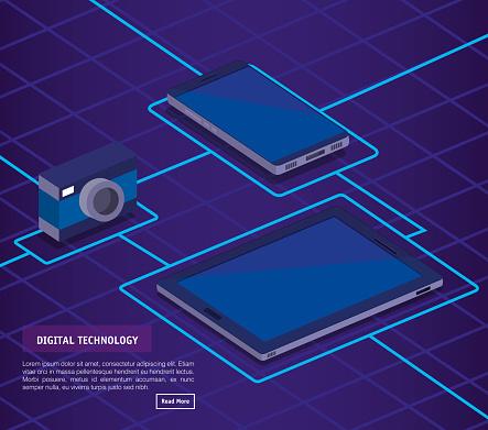 Digitale Technologie Isometrics Iconen Stockvectorkunst en meer beelden van Analyseren