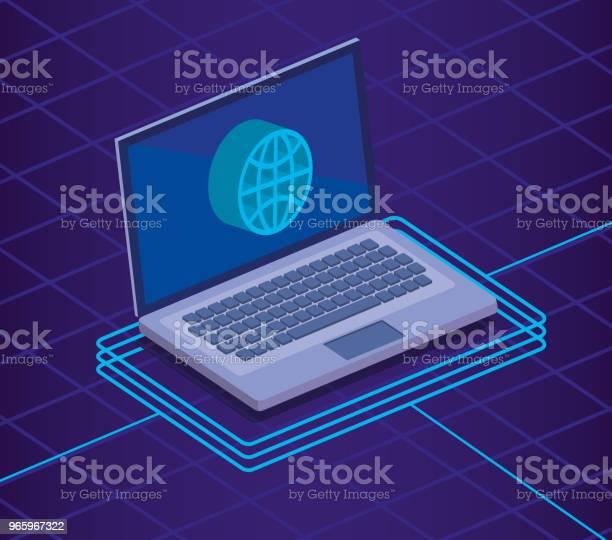 Digital Technology Isometrics Icons - Arte vetorial de stock e mais imagens de Analisar