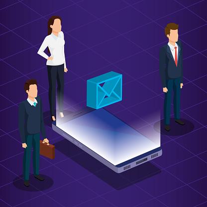 Digitale Technologie Met Mensen Uit Het Bedrijfsleven Isometrische Stockvectorkunst en meer beelden van Analyseren