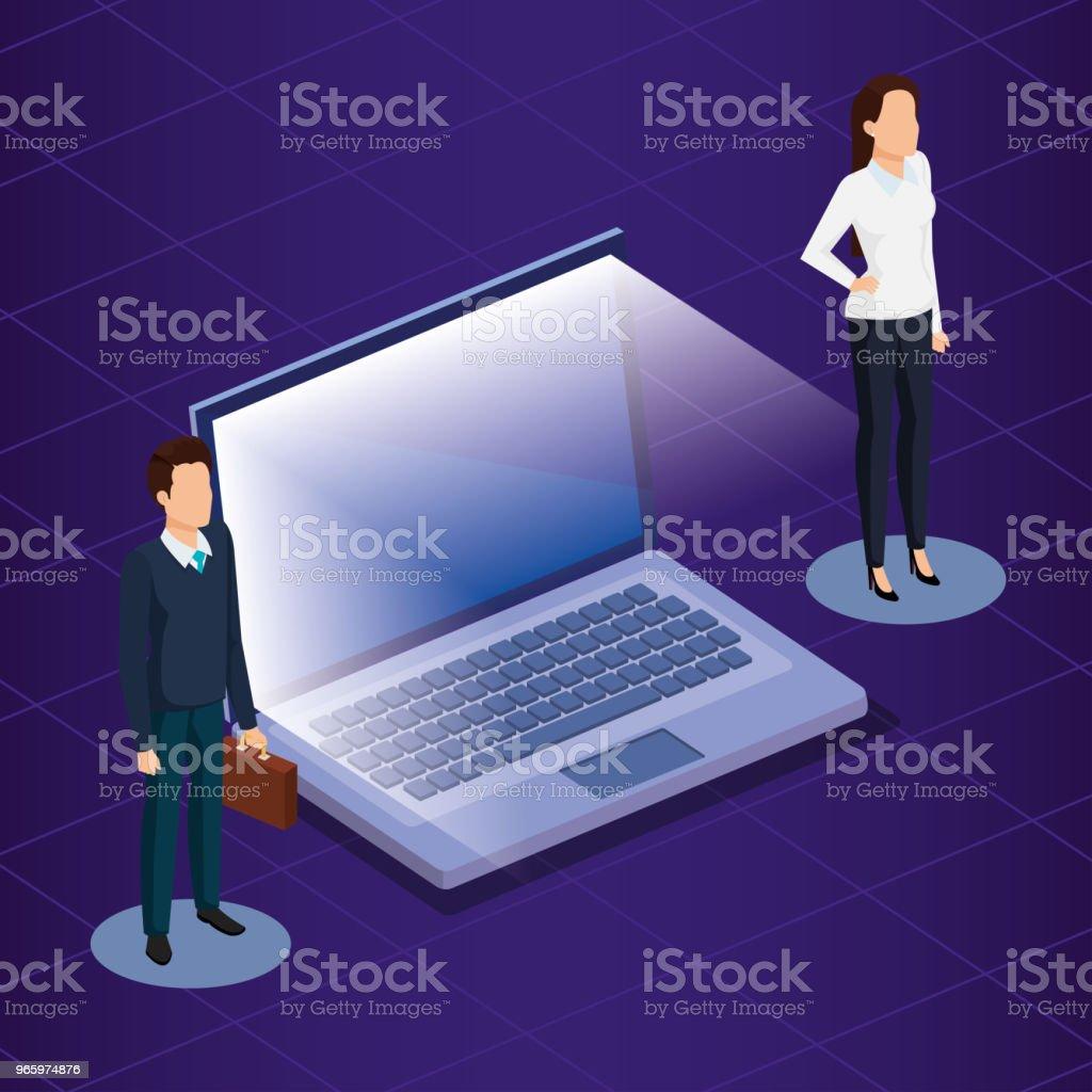 Digitaltechnik mit Geschäftsleuten isometrische - Lizenzfrei Aktenmappe Vektorgrafik