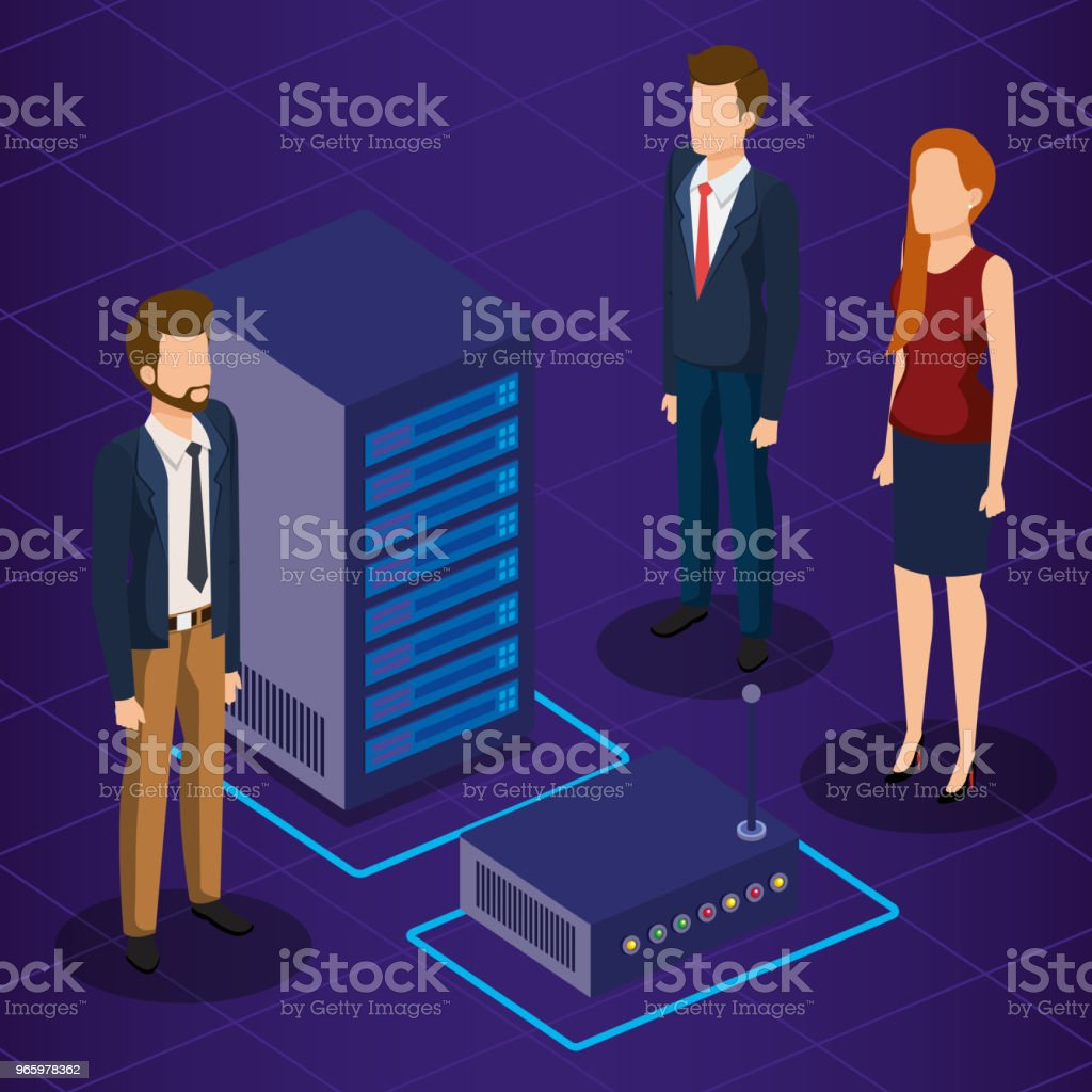 digital technology with business people isometric - Векторная графика Аватарка роялти-фри