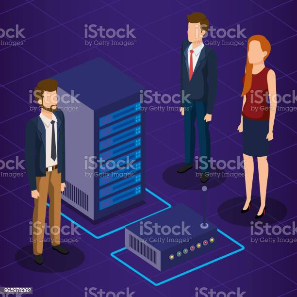 Digital Technology With Business People Isometric — стоковая векторная графика и другие изображения на тему Аватарка