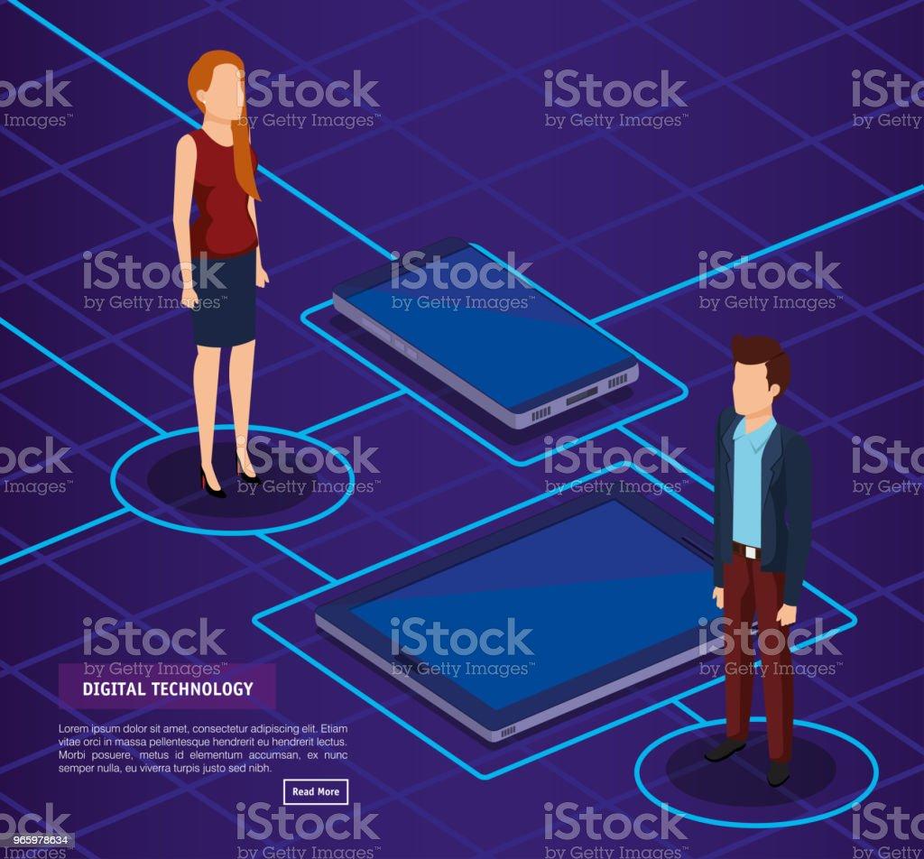digitale technologie met mensen uit het bedrijfsleven isometrische - Royalty-free Analyseren vectorkunst