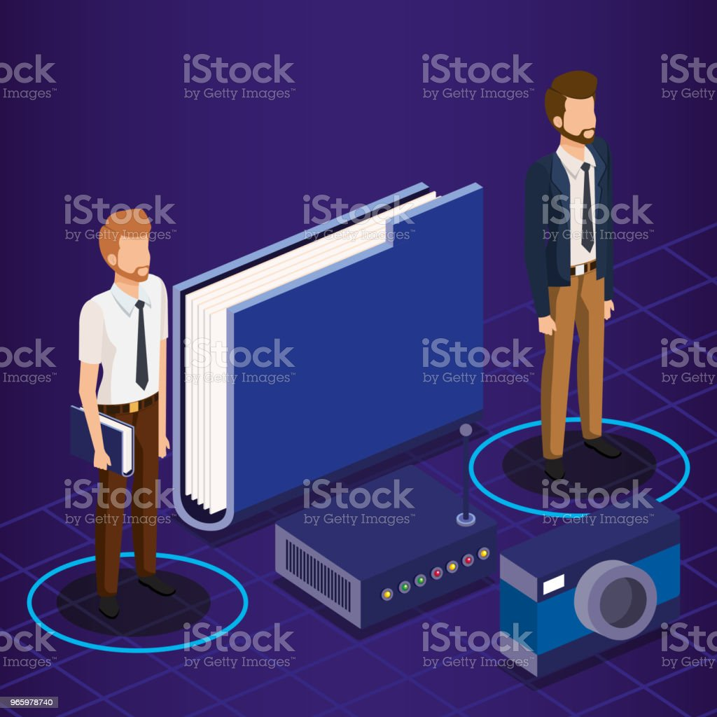 digital technology with business people isometric - Royalty-free Adult stock vector