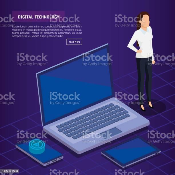 Digitale Technologie Met Zakelijke Persoon Isometrisch Stockvectorkunst en meer beelden van Analyseren