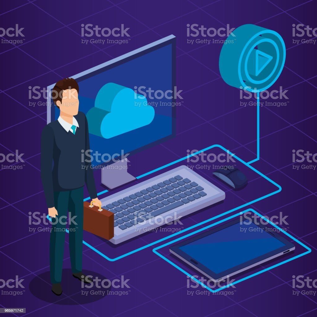 digital technology with business person isometric - Royalty-free Adult stock vector