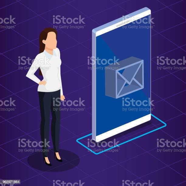 Digital Teknik Med Business Person Isometrisk-vektorgrafik och fler bilder på Affärskvinna