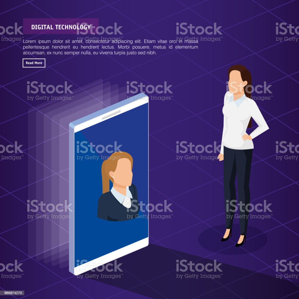 Digitaltechnik mit Geschäft Person isometrische - Lizenzfrei Analysieren Vektorgrafik