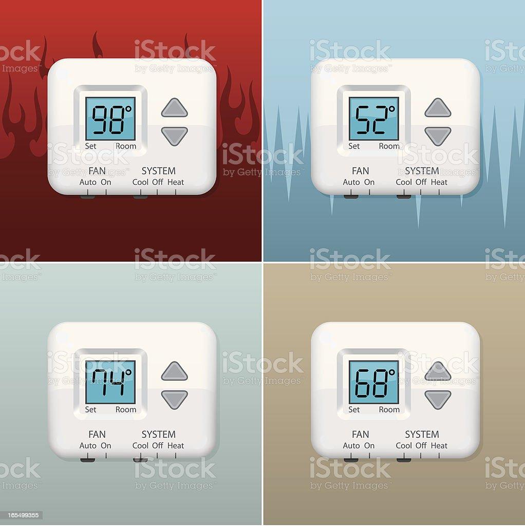 Digital Thermostat royalty-free stock vector art