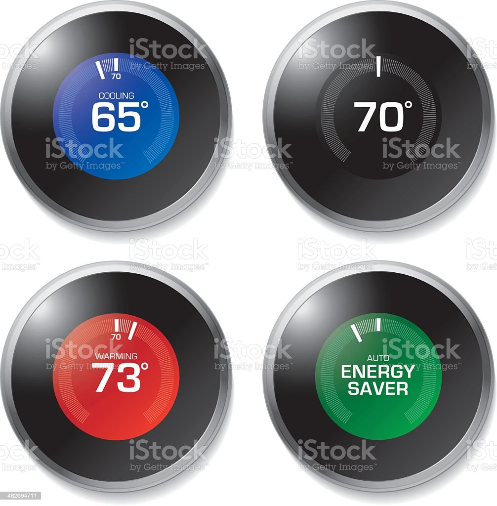 Digital Thermostat royalty-free digital thermostat stock vector art & more images of cold temperature