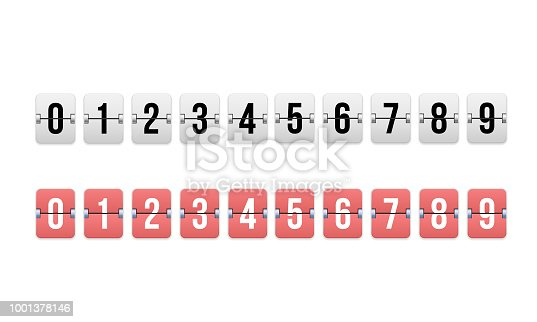 Digital timer, countdown counter. Mechanical scoreboard, flip watch. Remaining time, count down in reverse direction. Value of days, hours, minutes, seconds, template constructor Vector illustration