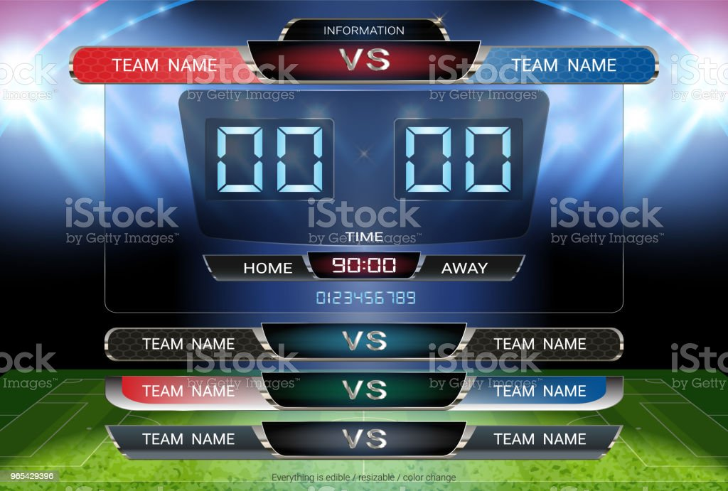 Digital timing scoreboard and Lower thirds template, Soccer or football match team A vs team B, Strategy broadcast graphic for presentation score or game results display  (EPS10 vector fully editable) vector art illustration