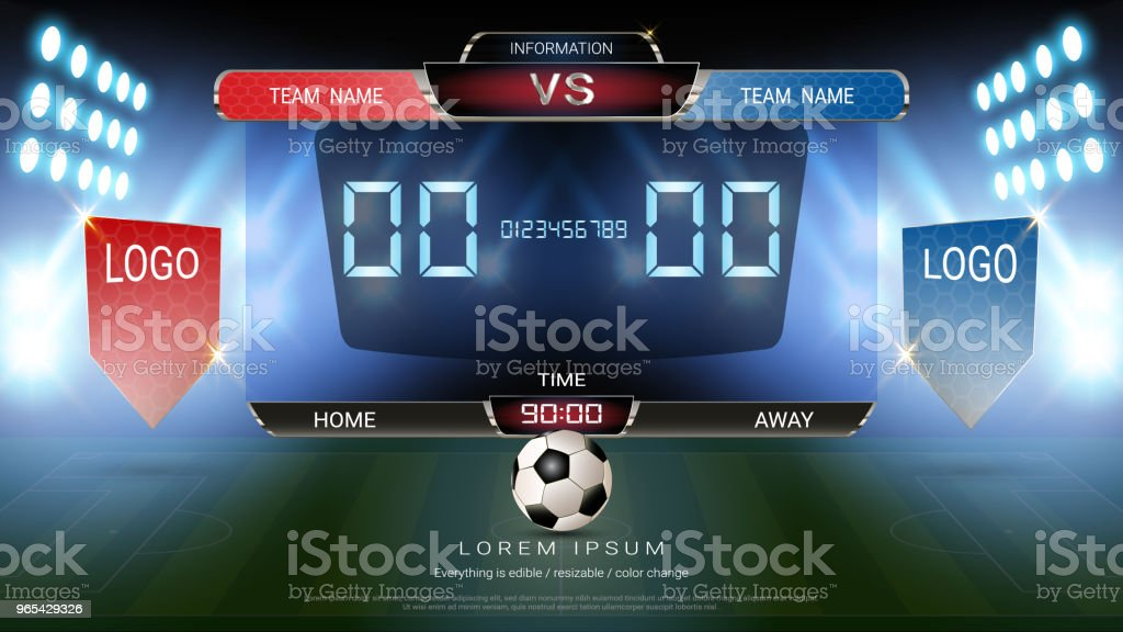Digital timing scoreboard, Football match team A vs team B, Strategy broadcast graphic template for presentation score or game results display (EPS10 vector fully editable, resizable and color change) royalty-free digital timing scoreboard football match team a vs team b strategy broadcast graphic template for presentation score or game results display stock vector art & more images of 3rd base