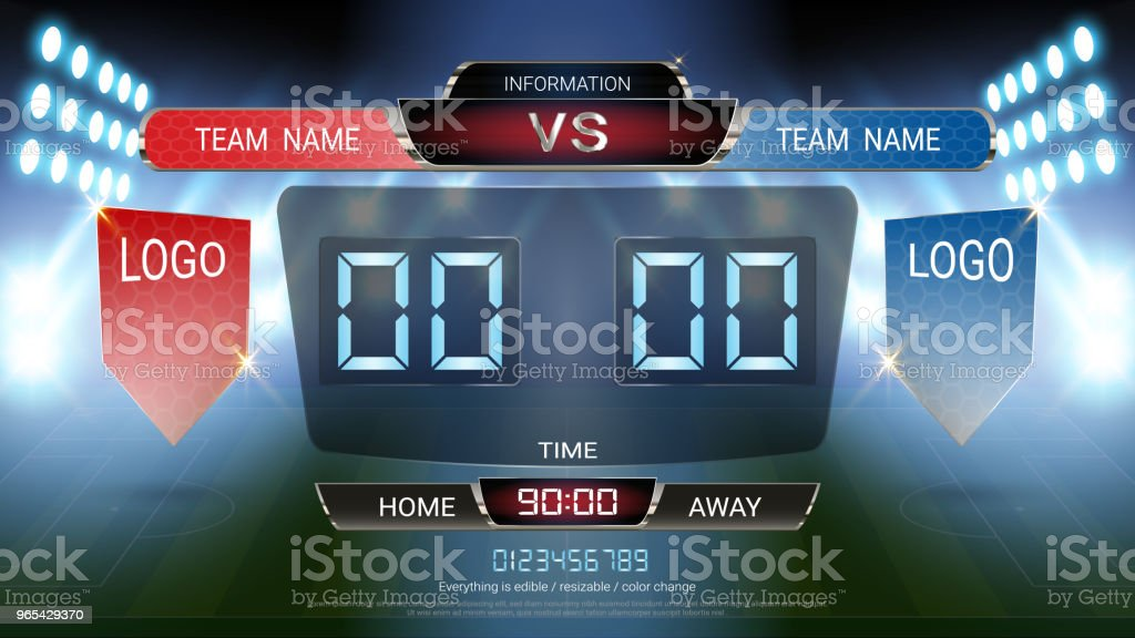 Digital timing scoreboard, Football match team A vs team B, Strategy broadcast graphic template for presentation score or game results display (EPS10 vector fully editable, resizable and color change) digital timing scoreboard football match team a vs team b strategy broadcast graphic template for presentation score or game results display - stockowe grafiki wektorowe i więcej obrazów 2018 royalty-free
