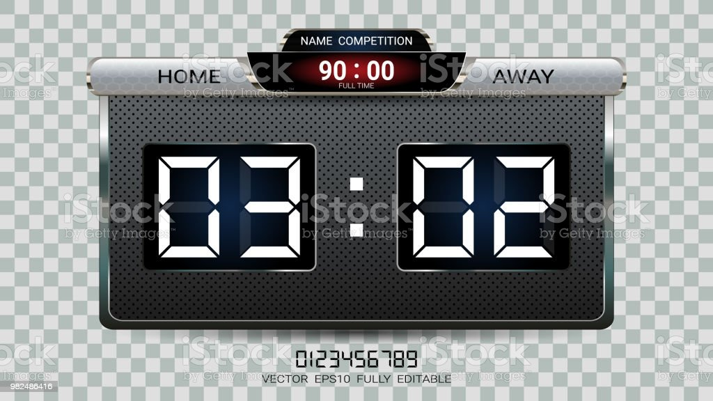 Digital timing scoreboard, Football match team A vs team B, Strategy broadcast graphic template for presentation score or game results display (EPS10 vector fully editable, resizable and color change) vector art illustration