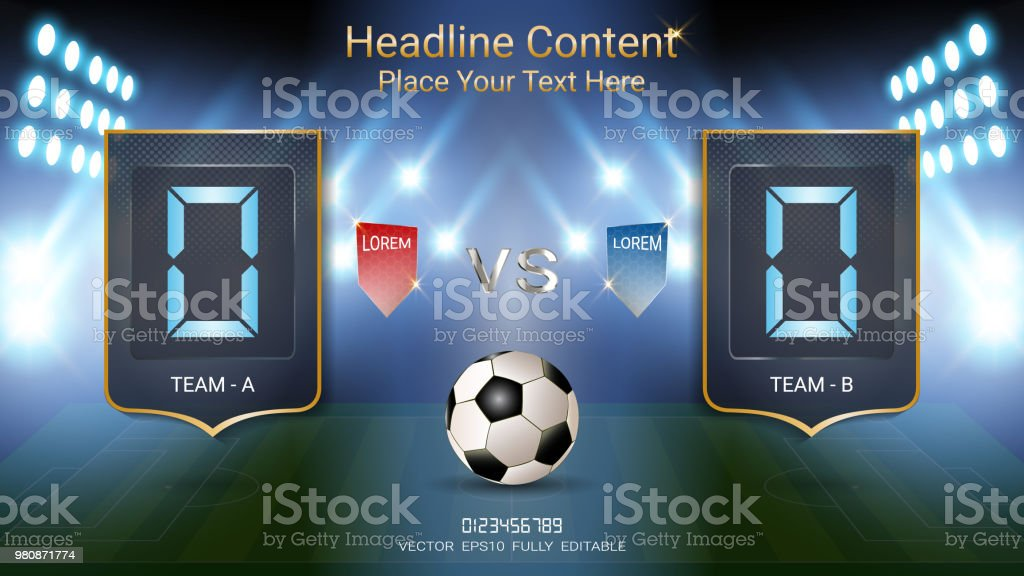 Digital timing scoreboard, Football match with the flag, Strategy broadcast graphic template for presentation score or game results display (EPS10 vector fully editable, resizable and color change) vector art illustration
