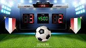 Digital timing scoreboard, Football match with the flag, Strategy broadcast graphic template for presentation score or game results display (EPS10 vector fully editable, resizable and color change)