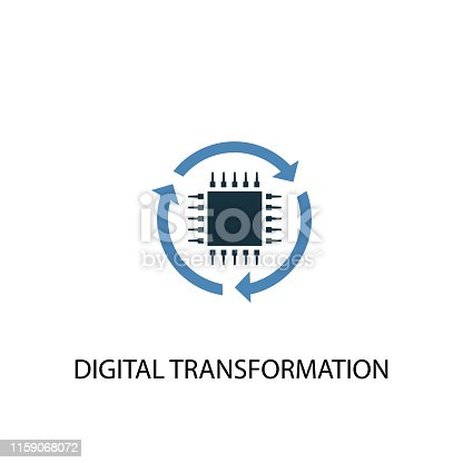digital transformation concept 2 colored icon. Simple blue element illustration. digital transformation concept symbol design. Can be used for web and mobile UI/UX