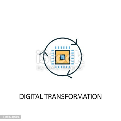 digital transformation concept 2 colored line icon. Simple yellow and blue element illustration. digital transformation concept outline symbol design