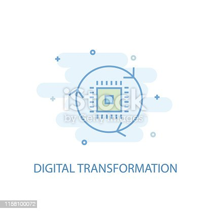 digital transformation line concept. Simple line icon, colored illustration. digital transformation symbol flat design. Can be used for UI/UX