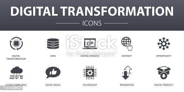 digital transformation simple concept icons set. Contains such icons as digital services, internet, cloud computing, technology and more, can be used for web, logo, UI/UX