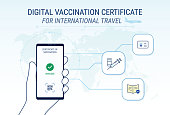 vaccine passport hand holding mobile phone. infographic vector illustration