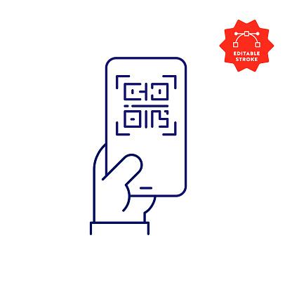Digital Vaccine Passport on Mobile Phone Screen Line Icon with Editable Stroke