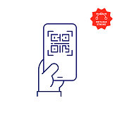 istock Digital Vaccine Passport on Mobile Phone Screen Line Icon with Editable Stroke 1324177979