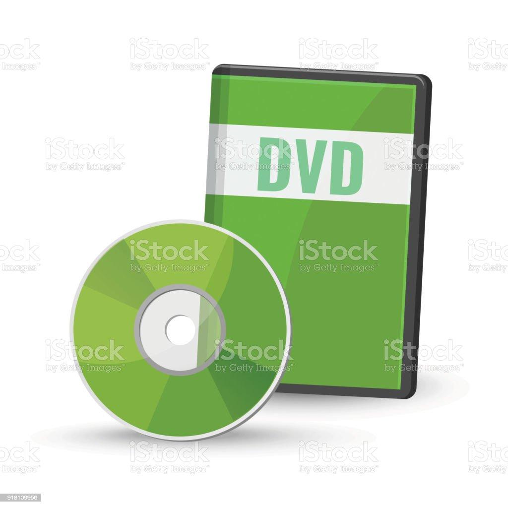 DVD digital video disc case for storage, versatile optical disc vector art illustration
