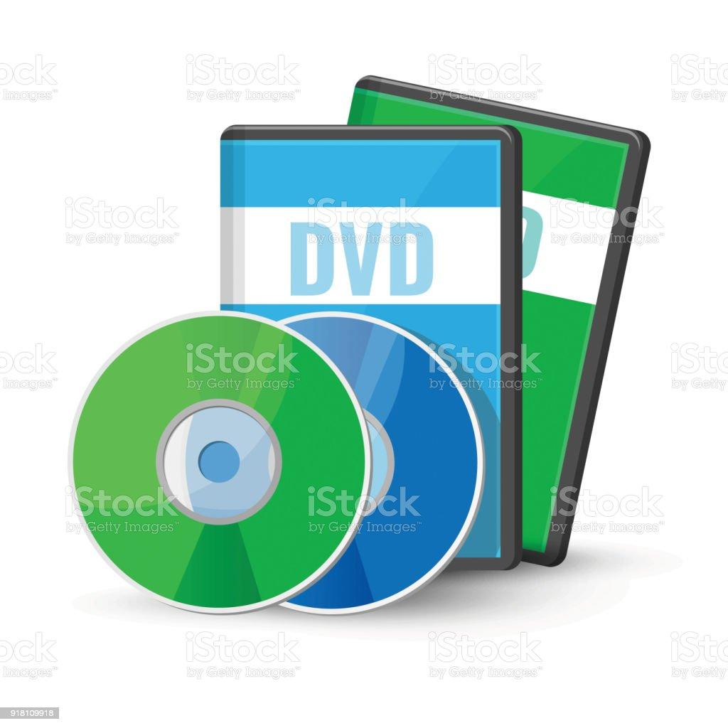 DVD digital video discs cases for storage, versatile optical disc vector art illustration