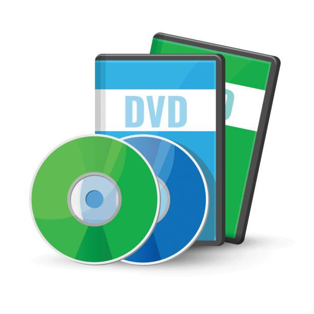 ilustrações, clipart, desenhos animados e ícones de discos de vídeo digital dvd casos para armazenamento, versátil disco óptico - cd