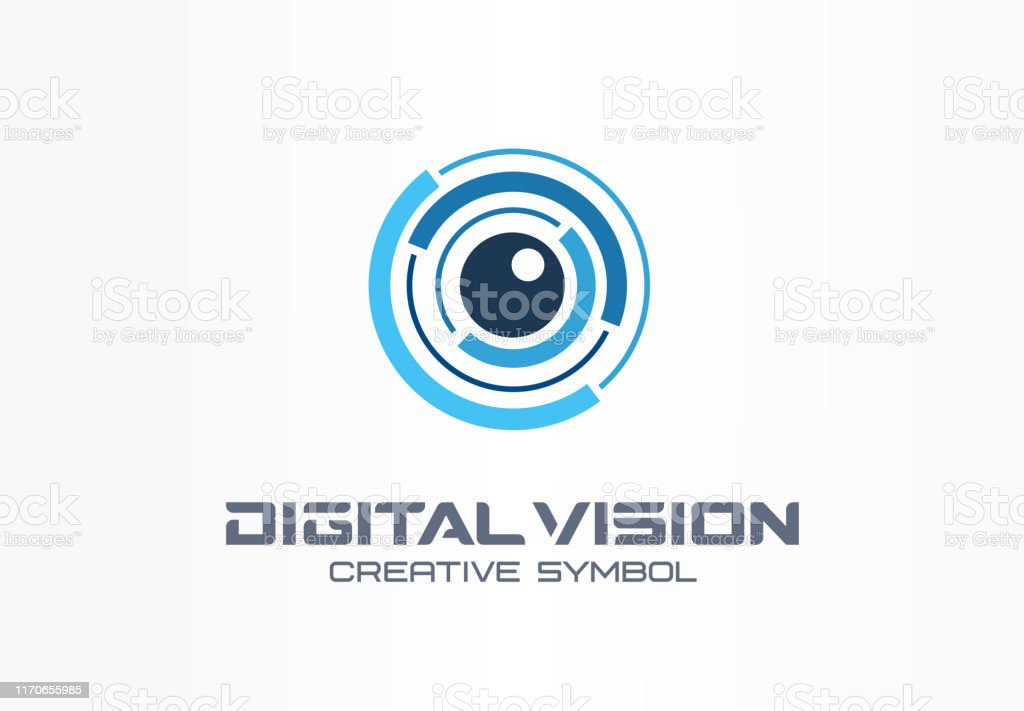 Digital Vision kreatives Symbolkonzept. Eye Iris Scan, vr System abstrakte Business Piktogramm - Lizenzfrei Abstrakt Vektorgrafik