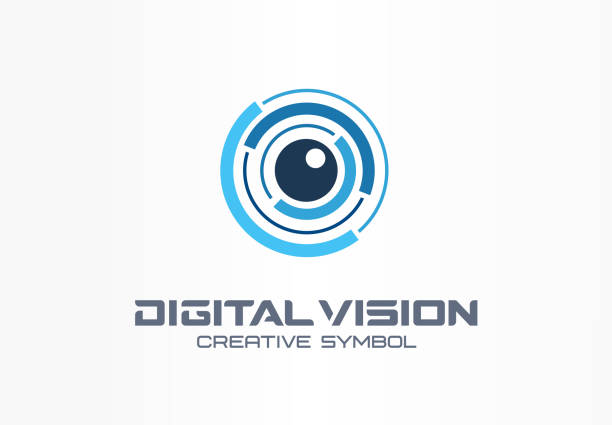 Digital vision creative symbol concept. Eye iris scan, vr system abstract business pictogram Digital vision creative symbol concept. Eye iris scan, vr system abstract business pictogram. Cctv monitor, security control, video camera lens icon image focus technique stock illustrations