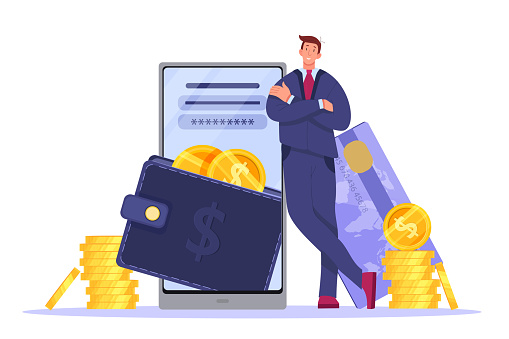Digital wallet, online payment or mobile banking illustration with smartphone, businessman, card, coins.