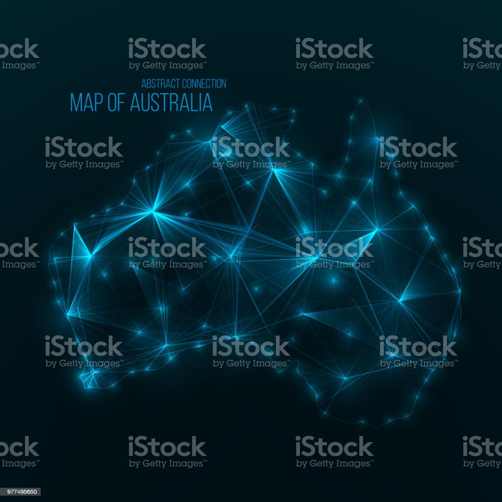 Digital web map of Australia . Global network connection royalty-free digital web map of australia global network connection stock illustration - download image now