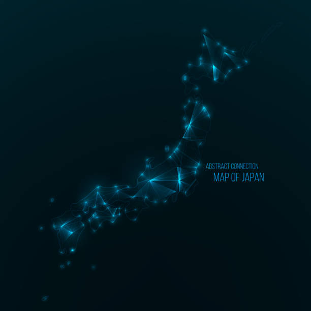 日本のデジタル web マップ。グローバル ネットワーク接続 - 日本 地図点のイラスト素材/クリップアート素材/マンガ素材/アイコン素材