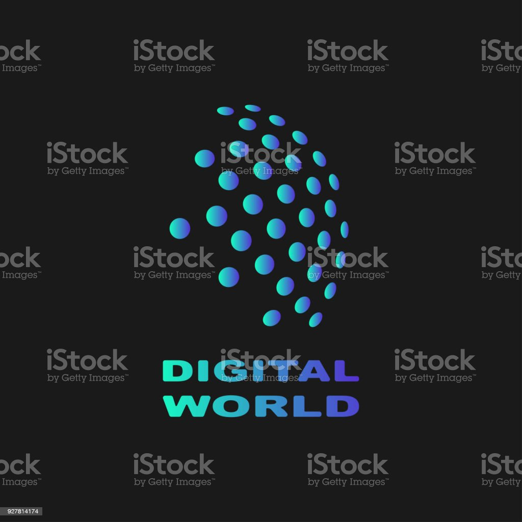 Digital world, abstract vector symbol, technology concept vector art illustration