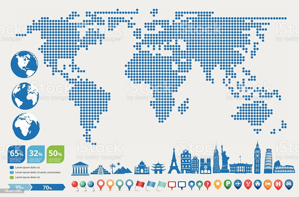 digital world map with globe and landmark icons stock
