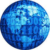 Vector globe consist of binary code.