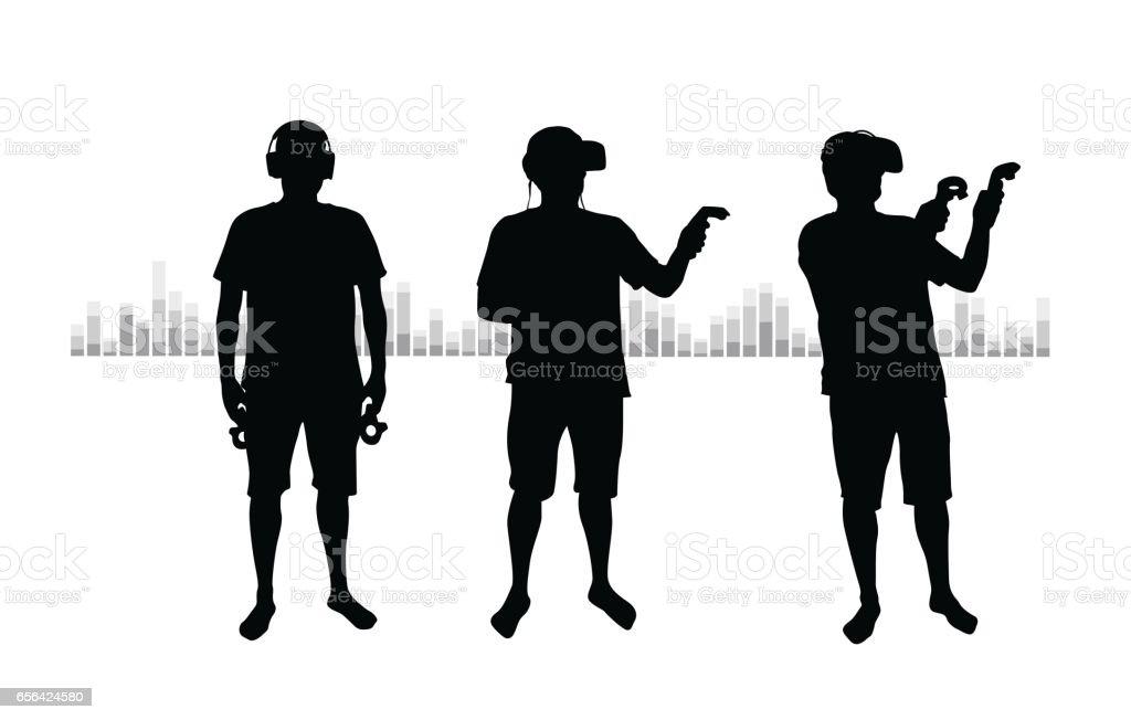 Digital World VR vector art illustration
