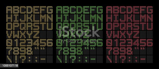 Digital yellow, green and red bold led font isolated on black background, vector illustration