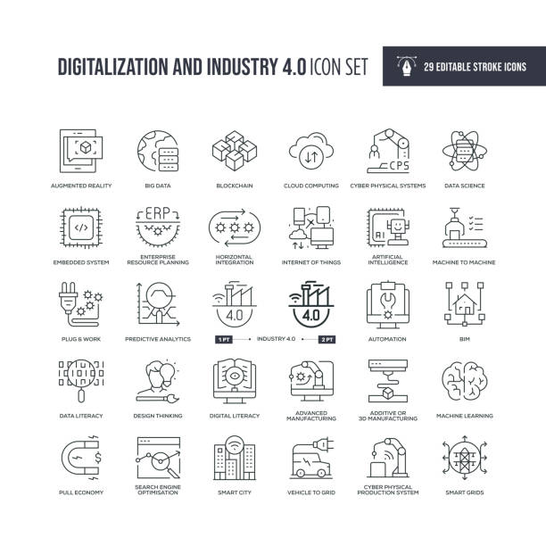 Digitalization and Industry 4.0 Editable Stroke Line Icons 29 Digitalization and Industry 4.0 Icons - Editable Stroke - Easy to edit and customize - You can easily customize the stroke with digitized stock illustrations
