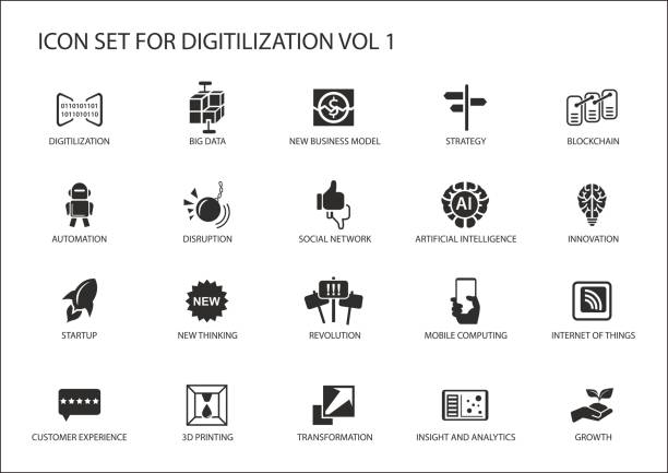 Digitilization vector icons for topics like big data, blockchain, automation, customer experience, mobile computing, internet of things, insights, analytics Digitilization vector icons for topics like big data, blockchain, automation, customer experience, mobile computing, internet of things, insights, analytics digitized stock illustrations